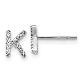 14k White Gold Diamond Initial K Earrings