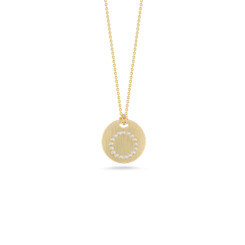 18Kt Gold Disc Pendant With Diamond Initial O