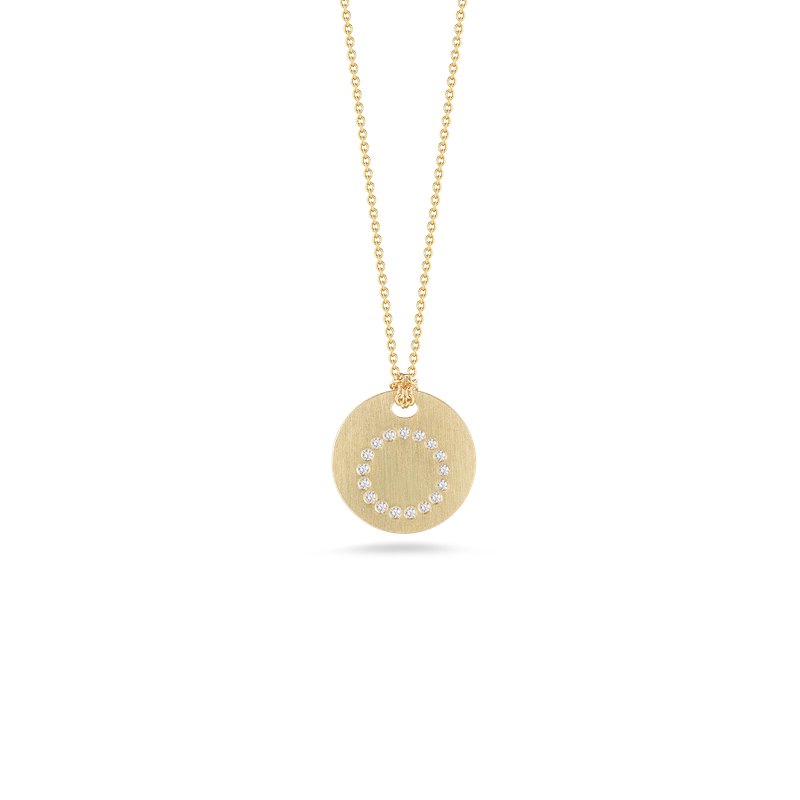 Roberto Coin 18KT GOLD DISC PENDANT WITH DIAMOND INITIAL O