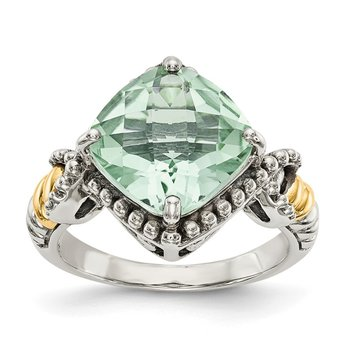 Sterling Silver w/14ky Green Quartz Cushion Ring