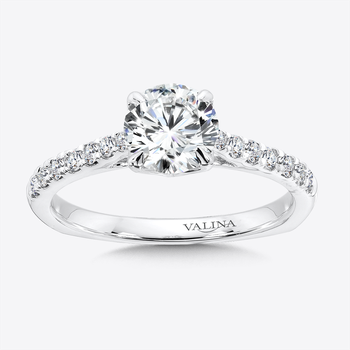 Solitaire Engagement Ring with Side Stones in 14K White Gold (0.22 ct. tw.)