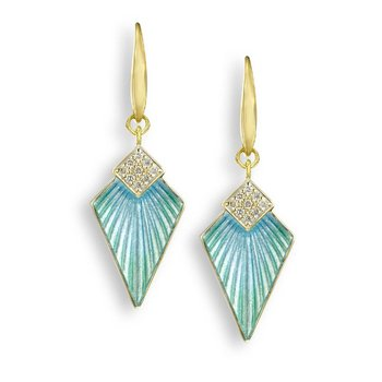 Turquoise Art Deco Wire Earrings.18K -Diamonds
