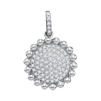 10kt White Gold Womens Round Diamond Beaded Circle Cluster Pendant 1/10 Cttw