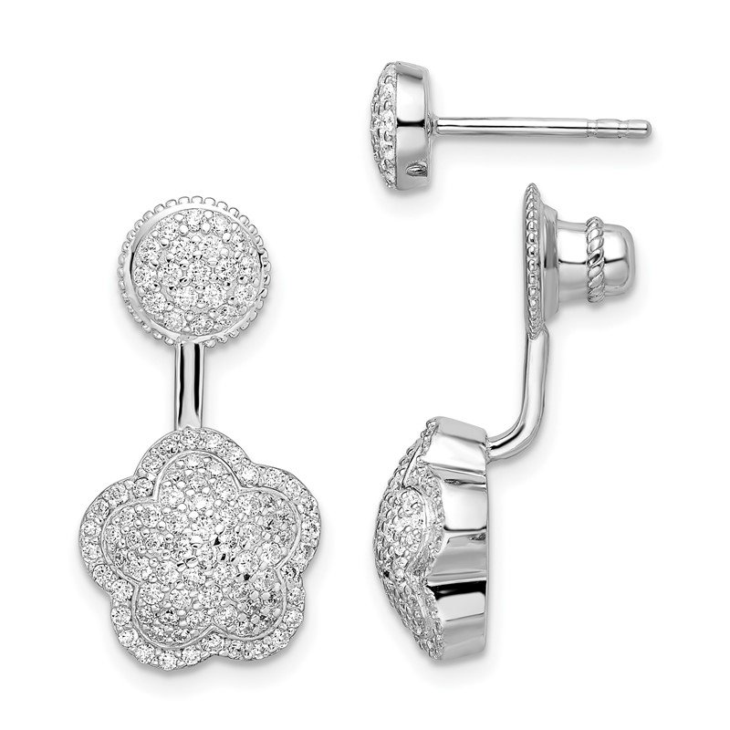 Quality Gold Sterling Silver Rhodium-plated CZ Convertible Back Earrings