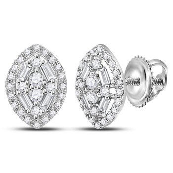 14kt White Gold Womens Round Baguette Diamond Oval Cluster Earrings 1/3 Cttw