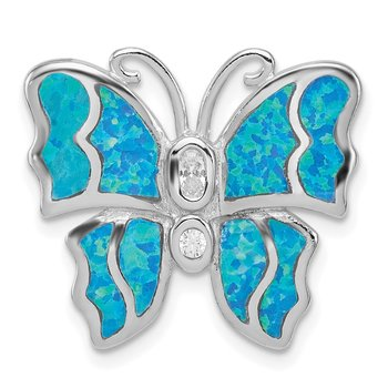 Sterling Silver Rhod plated Blue Inlay Creat Opal Butterfly Pendant
