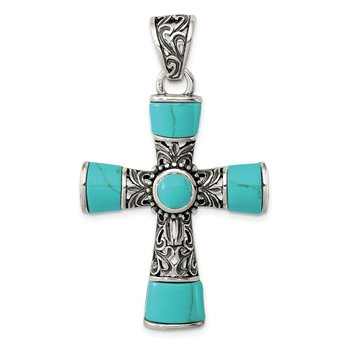 Sterling Silver Synthetic Turquoise Antiqued Cross Pendant