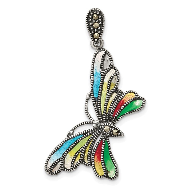Quality Gold Sterling Silver Marcasite and Multi Color Epoxy Butterfly Pendant