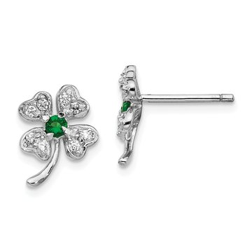 Sterling Silver Cheryl M Rh-p Glass Sim.Emerald CZ 4-leaf Clover Earrings