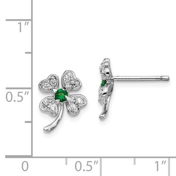 Cheryl M SS Rhod-plated Glass Sim.Emerald & CZ 4-leaf Clover Earrings