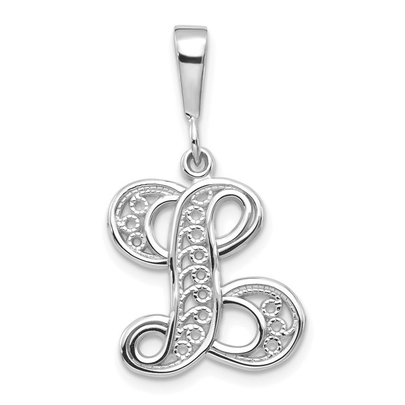 Quality Gold 14KW White Gold Solid Polished Script Filigree Letter L Initial Pendant