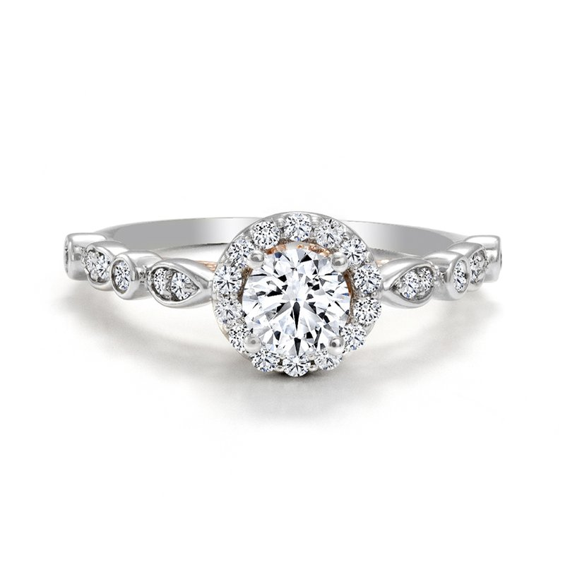 Canadian Rocks Halo Diamond Engagement Ring with Rose Gold Details