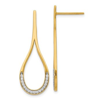 Leslie's 14k Rhodium CZ Gold Earrings