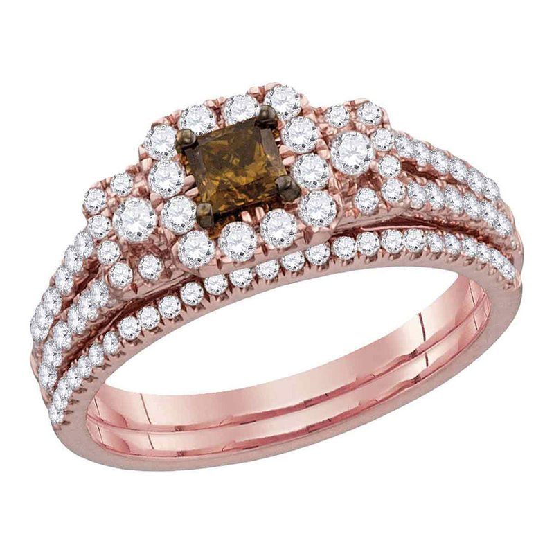 Gold-N-Diamonds, Inc. (Atlanta) 14kt Rose Gold Womens Cognac-brown Diamond Princess Halo Bridal Wedding Engagement Ring Band Set 1.00 Cttw