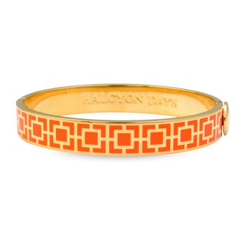 Orange Mosaic Gold Hinged Bangle