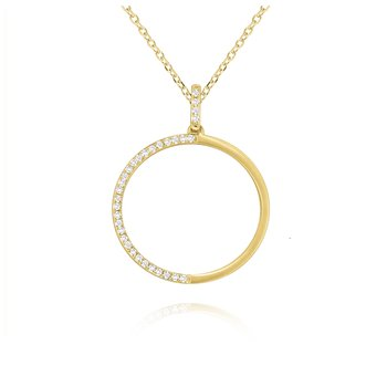 14K Gold and Diamond Circle Necklace