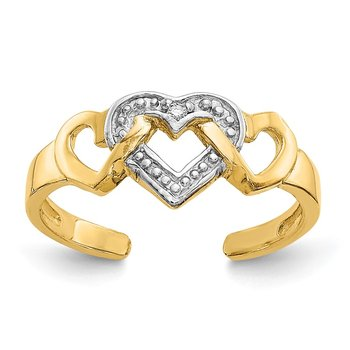 14k Rhodium Diamond Heart Toe Ring