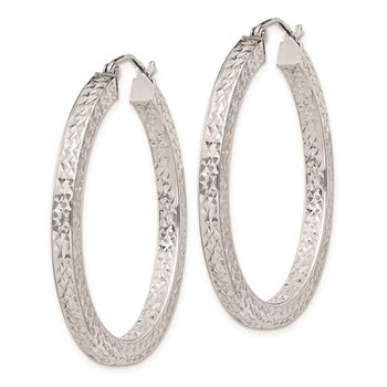Sterling Silver Rhodium-plated Diamond-cut 3x35mm Square Tube Hoop Earrings