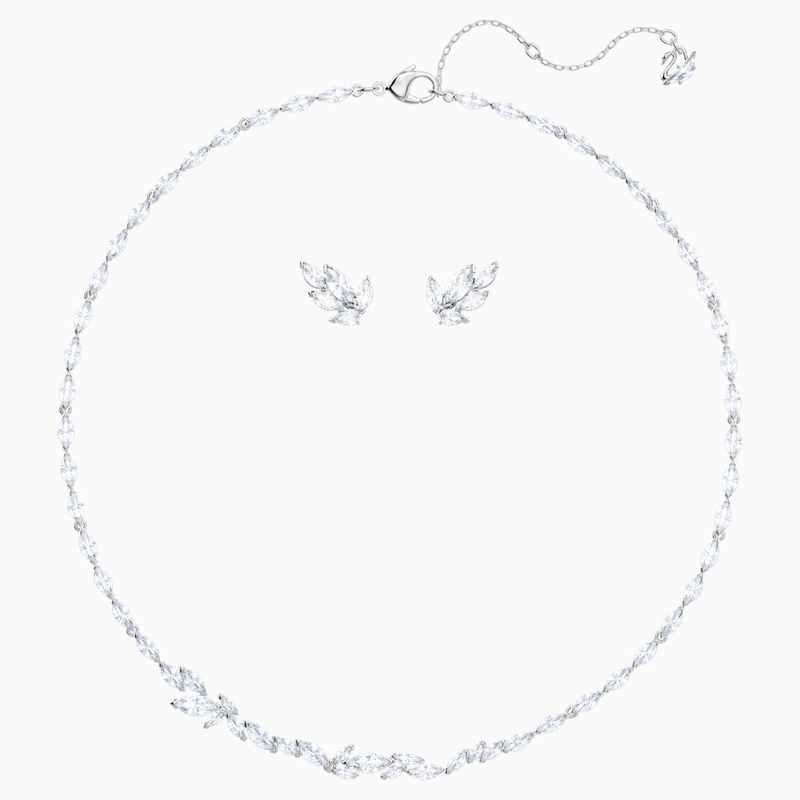 Swarovski Louison Set, White, Rhodium plated