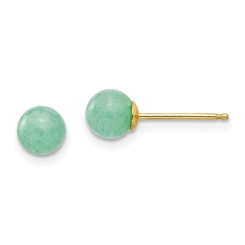 J.F. Kruse Signature Collection 14k Madi K 5mm Green Natural Stone Post Earrings