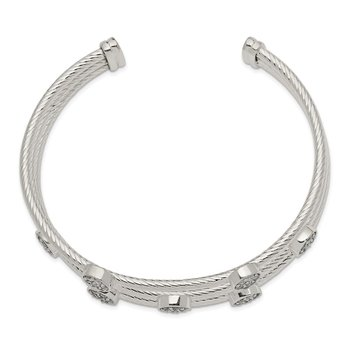 Sterling Silver Polished and Textured CZ Bangle