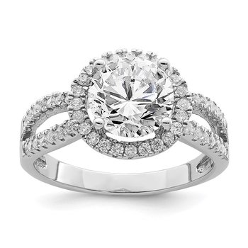 Sterling Silver Rhodium-plated Halo 8mm Center CZ Ring