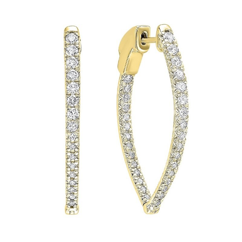 Gems One In-Out Diamond Hoop Earrings in 14K Yellow Gold (1 ct. tw.)