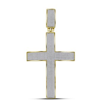10kt Yellow Gold Mens Round Pave-set Diamond Roman Cross Charm Pendant 1-7/8 Cttw