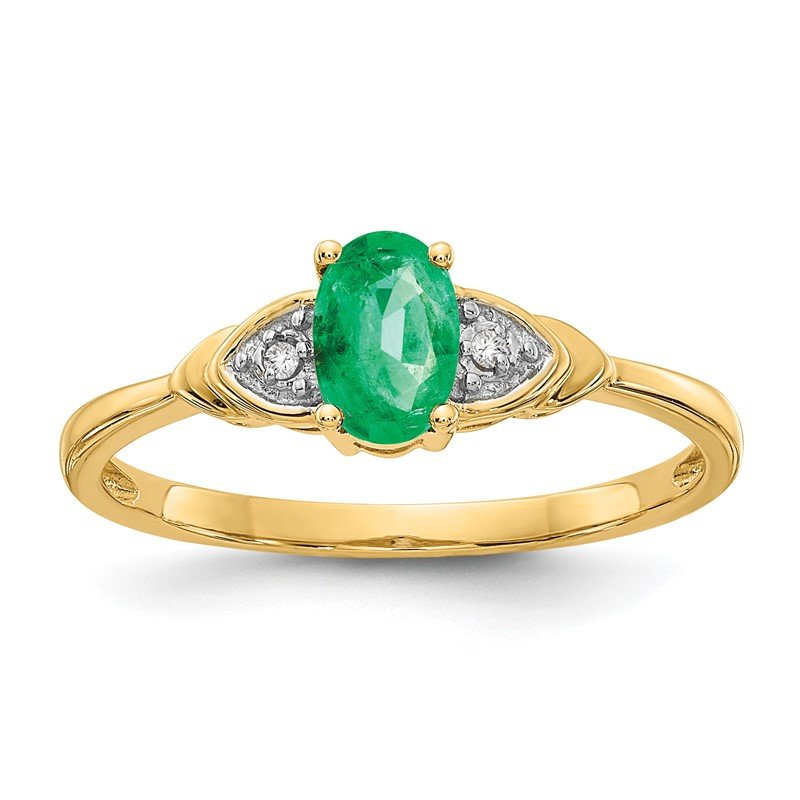 Quality Gold 14k Emerald and Diamond Ring