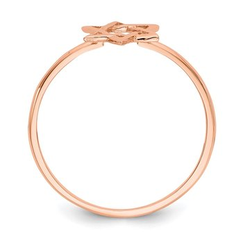 14k Rose Gold Polished Star of David Ring