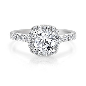 Classic Halo Diamond Engagement Ring with Pavé Diamonds