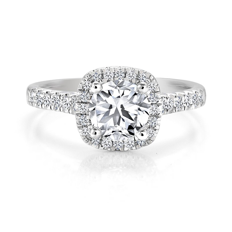 Canadian Rocks Classic Halo Diamond Engagement Ring with Pavé Diamonds