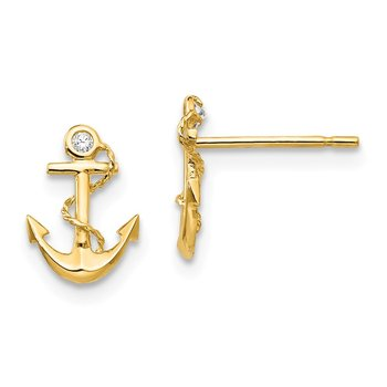 14k Madi K CZ Children's Anchor Post Earrings