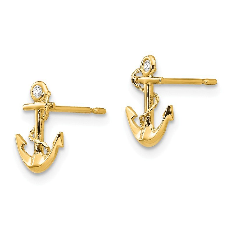 Quality Gold 14k Madi K CZ Children's Anchor Post Earrings