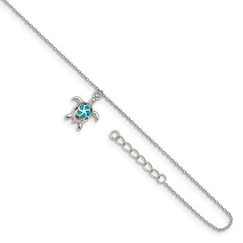 Sterling Silver RH-plated Created Opal Turtle 9in Plus 1in Ext. Anklet