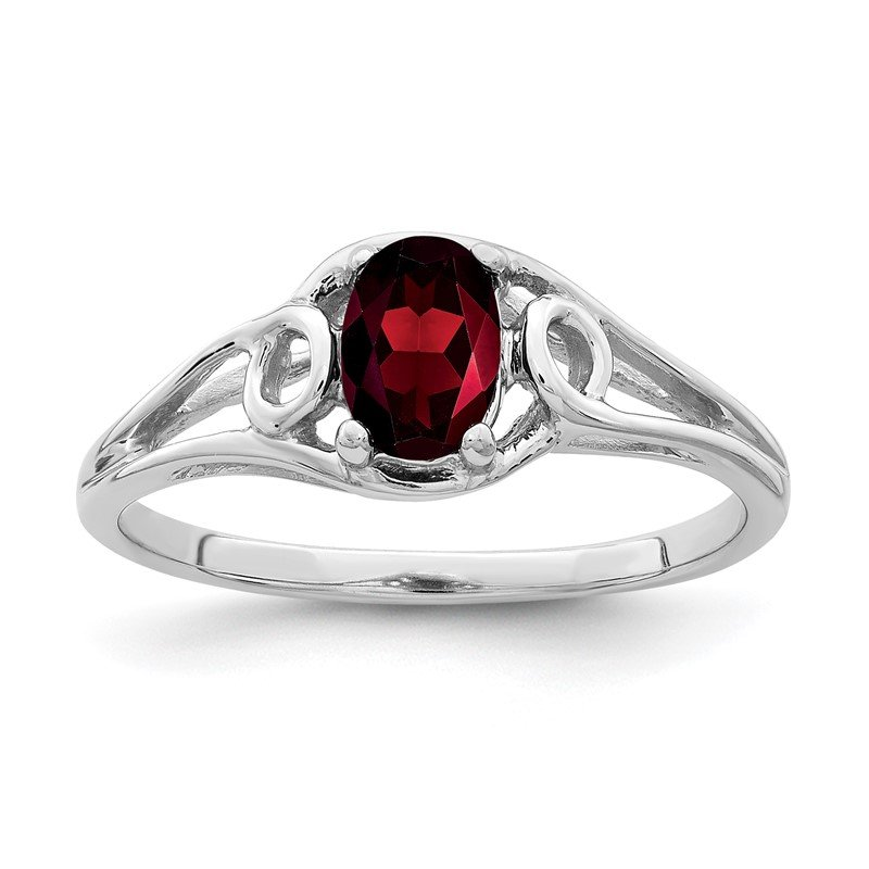 Quality Gold 14k White Gold 6x4mm Oval Garnet ring