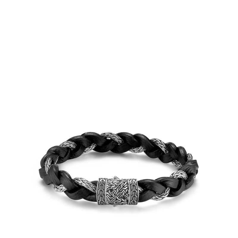 JOHN HARDY Braided Chain 11.5MM Bracelet in Silver and Leather