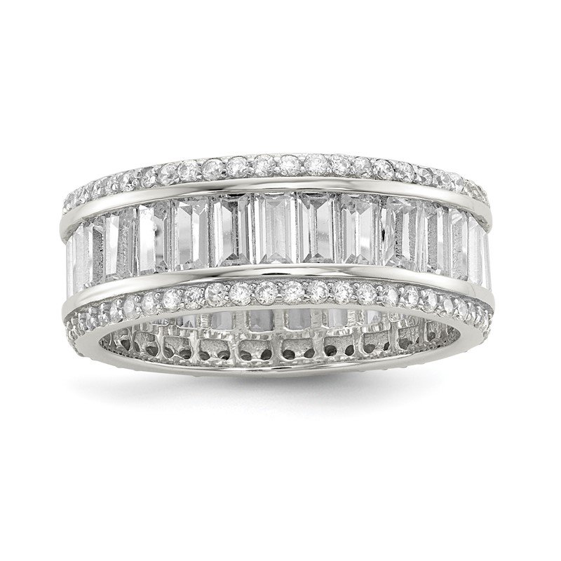 Quality Gold Sterling Silver Baguette & Round CZ Eternity Ring