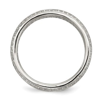 Sterling Silver Baguette & Round CZ Eternity Ring