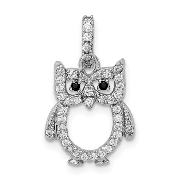Sterling Silver Rhodium-plated CZ Owl Pendant
