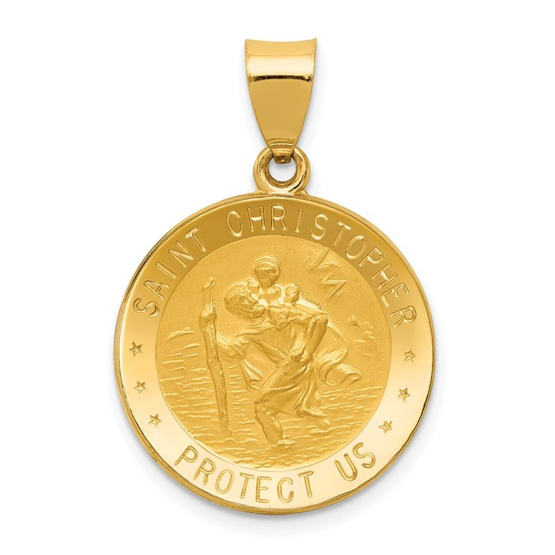 Quality Gold 14k Polished and Satin St. Christopher Medal Hollow Pendant