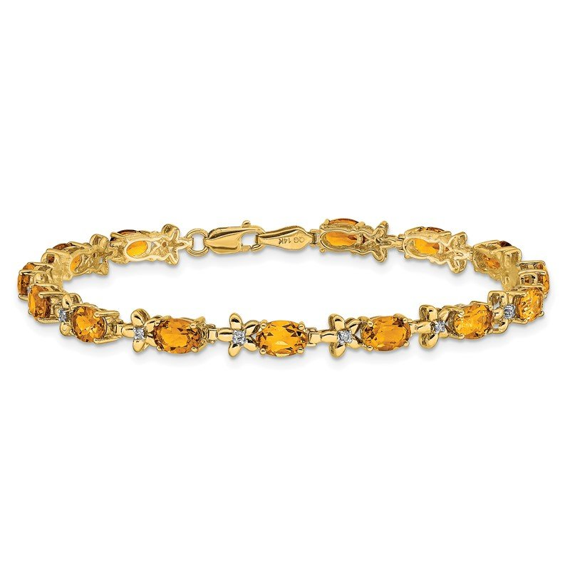 Quality Gold 14k Floral Diamond and Amethyst Bracelet