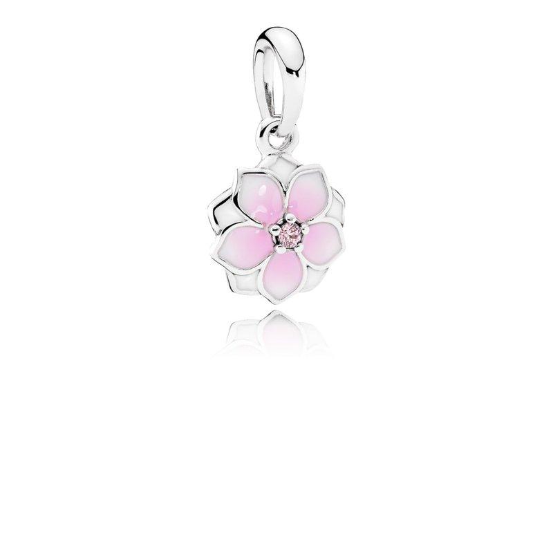 700421be1 PANDORA Magnolia Bloom Dangle Charm, Pale Cerise Enamel Pink Cz. Stock #  792086PCZ