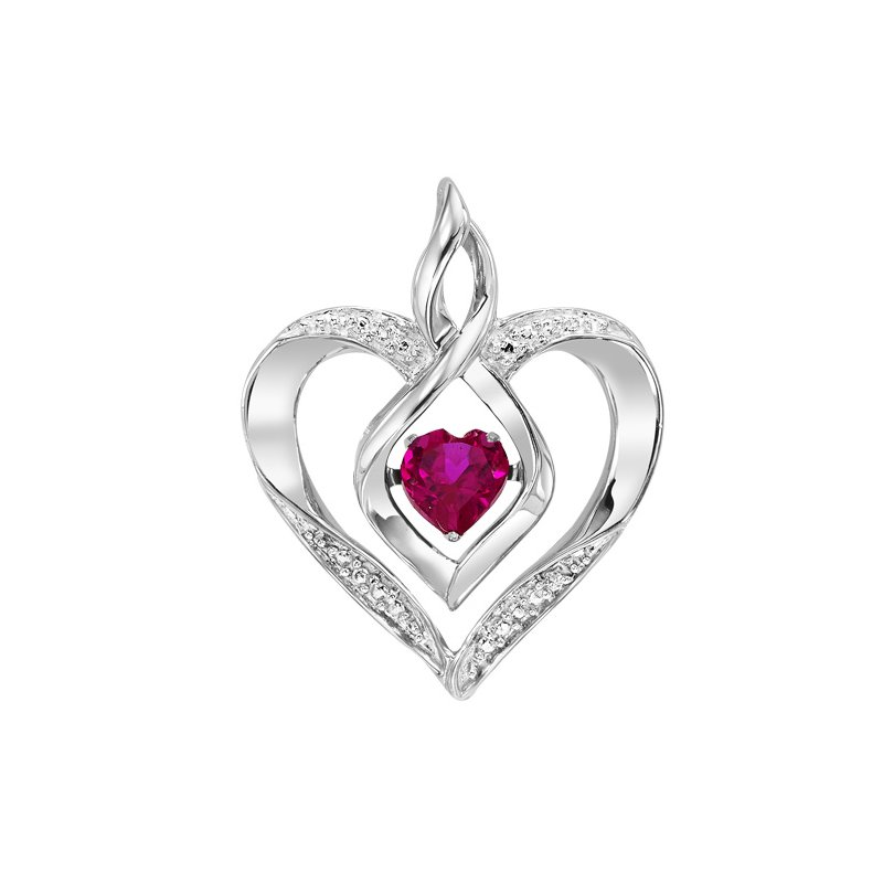 Gems One Diamond & Synthetic Garnet Heart Infinity Symbol ROL Rhythm of Love Pendant in Sterling Silver