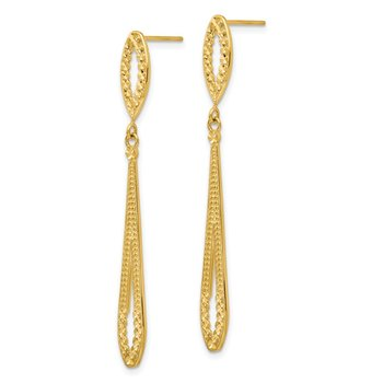 14k Diamond-cut Dangle Post Earrings