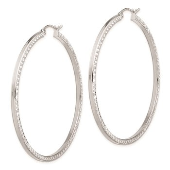 Sterling Silver Rhodium-plated Diamond-cut 2x50mm Square Tube Hoop Earrings