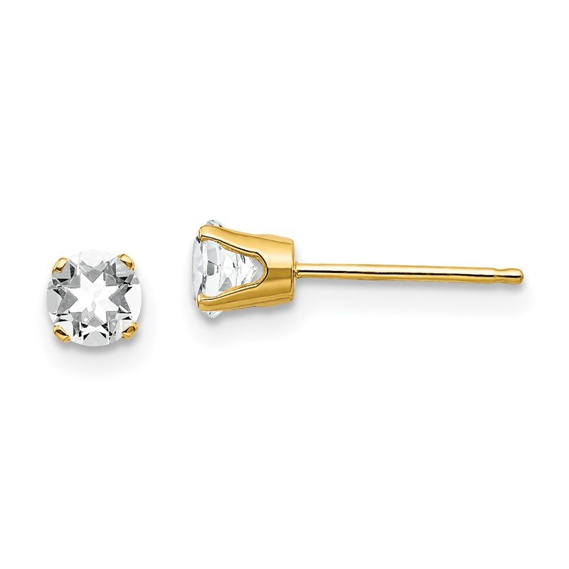 Quality Gold 14k 4mm April/White Topaz Post Earrings