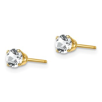 14k 4mm April/White Topaz Post Earrings