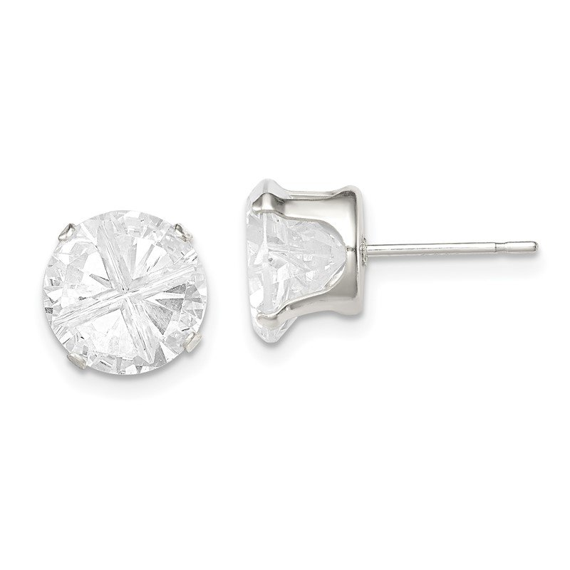 Quality Gold Sterling Silver 9mm Round Snap Set Cross-cut CZ Stud Earrings