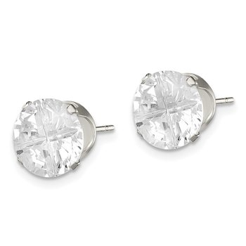 Sterling Silver 9mm Round Snap Set Cross-cut CZ Stud Earrings
